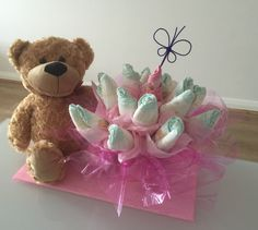 This flower bucket and teddy bear is such a great gift for a babby shower or for the birth of a newborn. Made by Celebrating with Us, delivering Sydney wide.