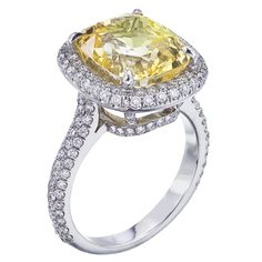 Natural Yellow Sapphire with Micro Pave Halo