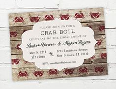 Crab Boil Invitation for birthday, shower, engagement, any party!   #crabboil #lowcountryboil #seafood #engagement #southern