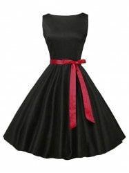Sleeveless Plain Vintage Dress with Belt - BLACK