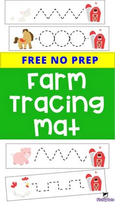 Farm Tracing Mat : FREE 7 Simple Tracing Mat for Toddlers and Preschoolers<br> Farm Animals Preschool, Preschool Writing, Free Preschool, Toddler Preschool, Preschool Farm Theme, Farm Activities, Preschool Activities, Preschool Projects, Preschool Printables