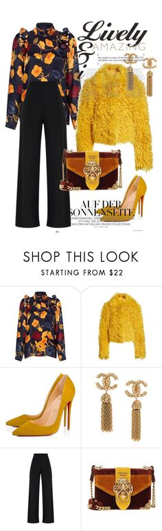 """yellow fashion"" by fashion-designer-naile ❤ liked on Polyvore featuring Mother of Pearl, Simon Miller, Christian Louboutin and Prada"