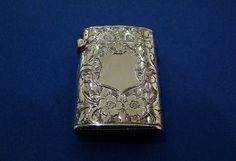 Victorian Sterling Silver 'Engraved Flowers' Vesta Case, Made by John Edward Wilmot, Birmingham 1900 - Daniel Bexfield Antiques - Fine Antique Silver & Objects of Vertu