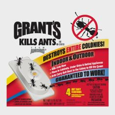 Grants 100500080 4-Count Indoor Ant Bait by Jensen. $4.60. Kills ants now and helps prevent their return, use at infestation point. Place in cabinets, under sinks and behind appliances. Ant bait for invading ants. Destroys entire colonies. For indoor and outdoor use; pack of 4. For use Indoors. Place in cabinets, under sinks, behind appliances and at point of infestation. For effective control, replace every 3 months. Grant's Kills Ants was one of the first ant bait products ...