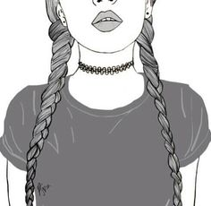 girl drawing black and white Tumblr Outline, Outline Art, Outline Drawings, Cute Drawings, Hipster Drawings, Pencil Drawings, Tumblr Girl Drawing, Tumblr Drawings, Teenage Girl Drawing