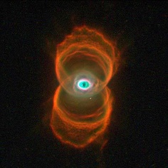 The Hourglass Nebula: This planetary nebula sits 8,000 light years away in the Musca constellation. The Hourglass Nebula formed from a dying Sun-like star that expelled its outer layers near the end of the red giant phase of its life. Once the gas is expelled the core is all that remains. The gas can form many different shapes, with this nebula the gas cloud moved slower while stellar winds moved faster. This caused the cloud to be shaped like an hourglass.