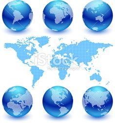 World Map and Globe Set royalty free vector art Royalty Free Stock Vector Art Illustration