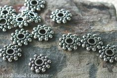 Pewter Beads Spacer Beads Rondelles Textured Beads by FreshBeadsCo, $3.95