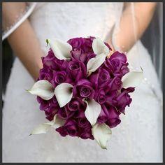 2012 wedding flower trend: The colour purple. Purple Rose Bouquet.