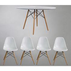 Set Replica Eames Mesa + 4 Sillas Blancas