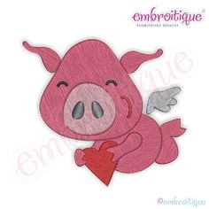 Flying Pig with Heart - 7 Sizes! | Valentine's Day | Machine Embroidery Designs | SWAKembroidery.com Embroitique