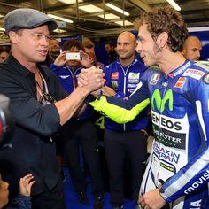 """#BradPitt got to see @valeyellow46 #HittingTheApex first hand at the #BritishGP! #MotoGP"""