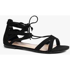 Boohoo Erin Lace Up Flat Ghillie Sandal ($26) ❤ liked on Polyvore featuring shoes, sandals, black, black gladiator sandals, black heel sandals, black flat sandals, block heel sandals and black jelly sandals