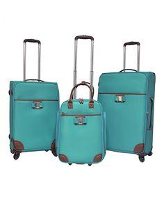 Teal Softside Three-Piece Suitcase Set