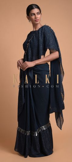 Buy Online from the link below. We ship worldwide (Free Shipping over US$100)  Click Anywhere to Tag Midnight Blue Saree In Chiffon Blend With Fancy Ruffle Tier Online - Kalki Fashion Midnight blue saree in chiffon blend with fancy ruffle tier.Embellished with sequins and cut dana work