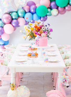 Fun and colorful don't event begin to describe this little girl's magical rainbow birthday party! Royale at But First, Party! describes the theme as 'unicorn rainbow mermaid flamingo' - and if that isn't every 4 year old's dream, we don't know what is!