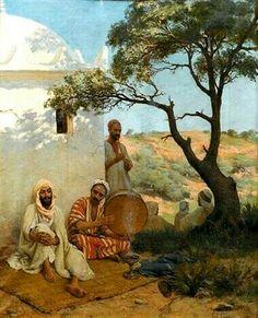 Algérie - Peintre Français, Paul-Jean-Baptiste Lazerges, (1845 - 1902),Huile sur toile 1882, Titre : Musiciens Arabes