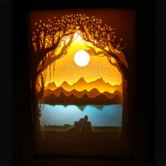 Meteor shower Paper cutting lights LED nightlights 3D carved wall lamp Light and shadow art children