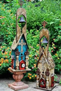 Large church birdhouse with ringing bell in natural or teal. Hand crafted in Texas from reclaimed wood, this four-foot tall rustic birdhouse features rich architectural elements done in vintage materi