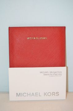 Michael Kors iPad Mini Red Leather Sleeve-Smart Cover Compatible-Brand New #MichaelKors