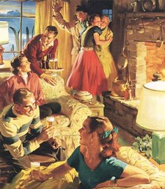 Weekend In The Country, art by Haddon Sundblom, 1954  ~ ~ ~  This actually looks like so much fun!