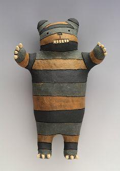 Striped Bear Wally  Ceramic Wall Art Sculpture by saraswink