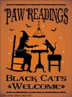 Paw readings black cars welcome silLoyete sign, HALLOWEEN Halloween Pictures, Halloween Signs, Holidays Halloween, Vintage Halloween, Spooky Halloween, Happy Halloween, Halloween Decorations, Halloween Phrases, Halloween Greetings