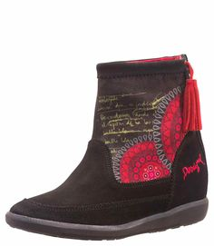 """Desigual Gorgeous Ankle Boots """"Indy from """"Yes"""" collection. Black leather suede boots with red design, inside wedge, zipper with tassel. Suede Boots, Ankle Boots, Red Wedges, Red Design, Casual Boots, Indie, Black Leather, Sandals, Barcelona"""