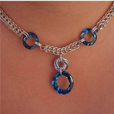 Swarovski Crystal Chainmaille Necklace by ChainedByLightness,