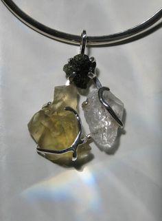 Divine Illumination ~ Moldavite, Libyan Desert Glass Tektite and Lemurian Seed crystal pendant I designed