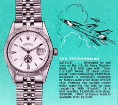 Rolex Turn-O-Graph Thunderbird – The Other Datejust - DreamChrono Rolex Vintage, Vintage Watches, Antique Watches, Vintage Advertisements, Vintage Ads, Luxury Watches, Rolex Watches, Watch Ad, Thing 1