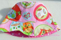Owl summer bucket hat for girls toddler by creationsforchildren
