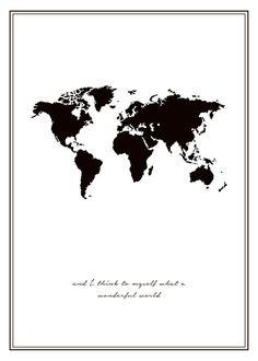 Tavla med världskarta | svartvita posters online | desenio.se