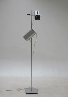 Jo Hammerborg; Chromed Metal 'Trombone' Floor Lamp for Fog ...