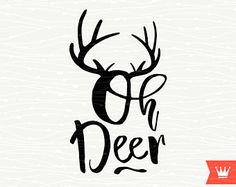 SVG Christmas Oh Deer Greetings Antlers SVG Christmas Happy New Year SVG Cutting File for Cricut Explore, Silhouette Cameo, Cutting Machines