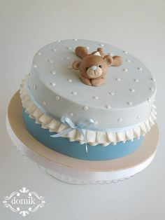 Christening cake for a baby boy Torta Baby Shower, Baby Shower Cakes For Boys, Baby Cakes, Cupcake Cakes, Teddy Bear Cakes, Teddy Bear Baby Shower, Occasion Cakes, Love Cake, Cute Cakes