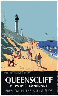 used to camp here every Easter. Vintage Beach Posters, Vintage Advertising Posters, Places To Travel, Places To Visit, Australian Vintage, World Cruise, Lighthouse Photos, Pub, Beaches In The World
