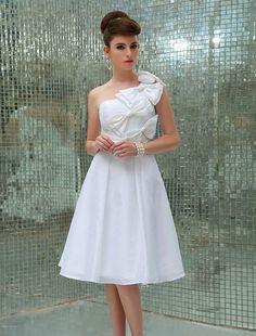 Wishesbridal Knee Length Taffeta A Line Wedding Dress