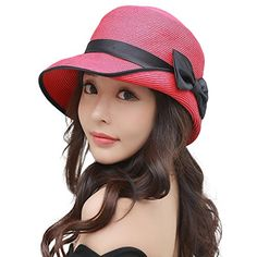 Womens Summer Foldable Straw Sun Beach Hat with Wide Brim   UV Protection -  Packable   Adjustable   Breathable   Lightweight - keeps you off the sun. 480a368115be