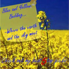 Blue and yellow bedding has that comfort factor other colors just can reach. Where the earth and the sky meet in color.Check out my top picks in bedding Blue And Yellow Bedding, Love Blue, Meet, Earth, Sky, My Favorite Things, Colors, Check, Heaven