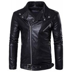 #AdoreWe #GearBest - #Gearbest Men s Zipper Punk Large Lapel Fashion Casual Trend of Leather Jacket - AdoreWe.com