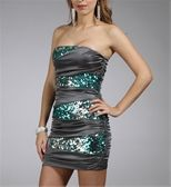 Charcoal/Teal Strapless Sequin Dress - love!
