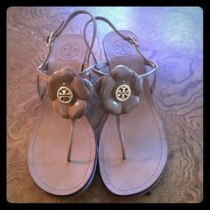 """Tory Burch Wedge Sandals Authentic Tory Burch Sandals. Flower design. 2"""" wedge. Tan leather. Worn once. Like new!! Perfect condition! Size 8. Tory Burch Shoes Sandals"""