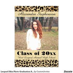 Leopard Skin Photo Graduation Announcement Class of 2016 #graduation