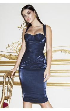 fb11a86009d5 Cleverly draped to flatter your figure, 'Loulou' is cut from a beautiful  light reflecting metallic satin. It has a sexy corset top.