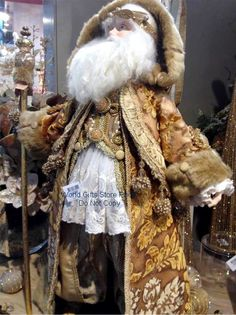 Katherine's Collection Chantilly 2013 Santa Doll gold and cream lace.