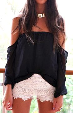 Lace shorts and super cute off the shoulder top