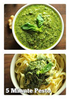7 ingredients, 5 minutes to make-Basil Walnut Pesto via @nutty