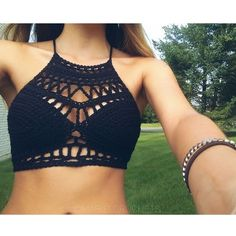 DIY Como tejer un top a crochet Crochet Halter Tops, Tops Tejidos A Crochet, Crochet Crop Top, Crochet Bikini, Mode Crochet, Crochet Diy, Crochet Fashion, Crochet Clothes, Crochet Dresses