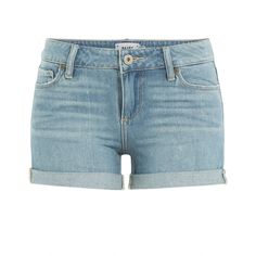Paige Jimmy Jimmy Shorts ($190) ❤ liked on Polyvore featuring shorts, bottoms, pants, jean shorts, blue, none, summer jean shorts, denim shorts, short jean shorts and blue shorts